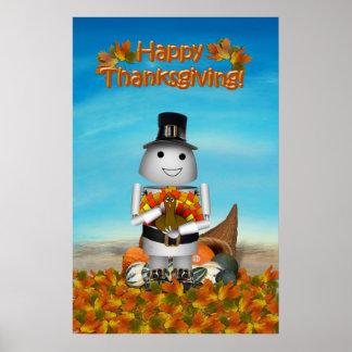 Acción de gracias feliz de Robo-x9 Posters
