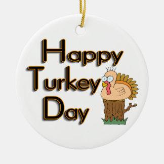 Acción de gracias feliz del día de Turquía Adorno Redondo De Cerámica