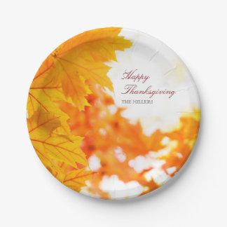 Acción de gracias feliz del otoño caliente plato de papel