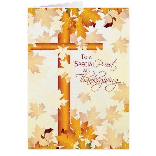 Acción de gracias feliz del sacerdote, católica tarjeta