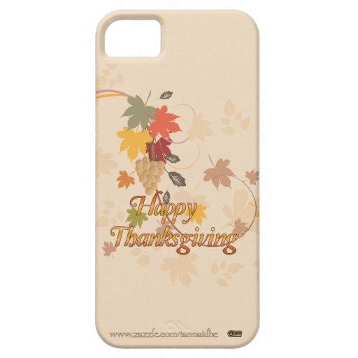 Acción de gracias feliz - hojas, uvas y cintas iPhone 5 Case-Mate cárcasa