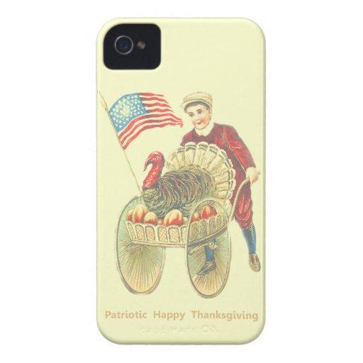 Acción de gracias feliz patriótica iPhone 4 Case-Mate carcasa
