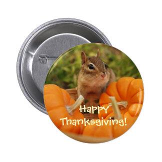 Acción de gracias feliz poco botón del Chipmunk Pin