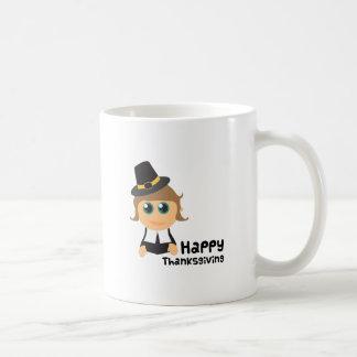 Acción de gracias feliz taza básica blanca