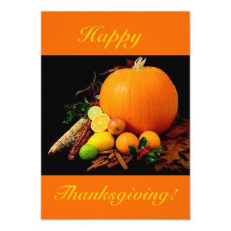 Acción de gracias feliz V con la calabaza y la Invitación 12,7 X 17,8 Cm