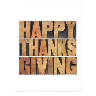 Acción de gracias feliz - vintage postal