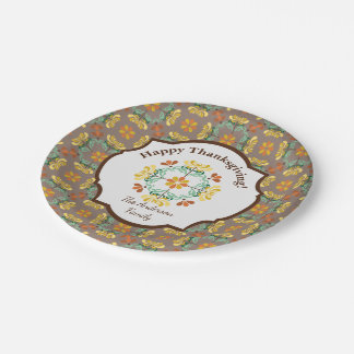 Acción de gracias personalizada crisantemo del plato de papel