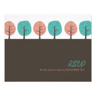 Acción de gracias retra RSVP de los árboles el | d Invitaciones Personales