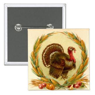 Acción de gracias Turquía del vintage y guirnalda Chapa Cuadrada 5 Cm