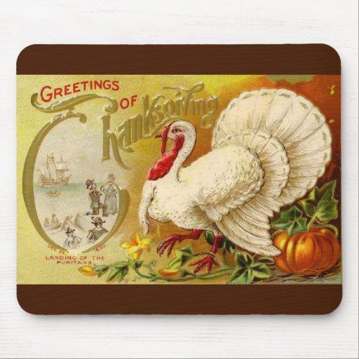 Acción de gracias Turquía Mousepad del vintage Tapetes De Ratones
