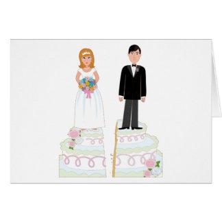 Acción de la torta del divorcio tarjeta de felicitación