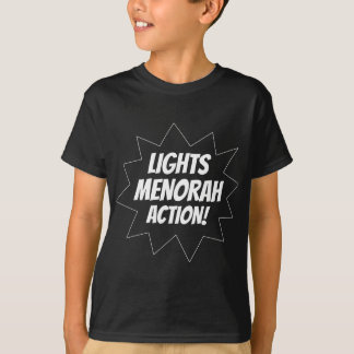 Acción de Menorah de las luces - blanco Camiseta