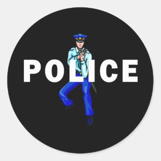 Acción policial pegatina redonda