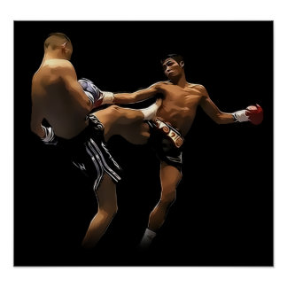 Acción tailandesa del boxeo de Muay Posters