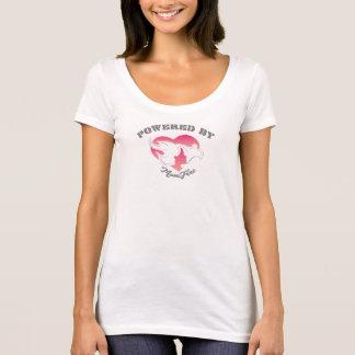 Accionado por blanco de la camiseta del escote