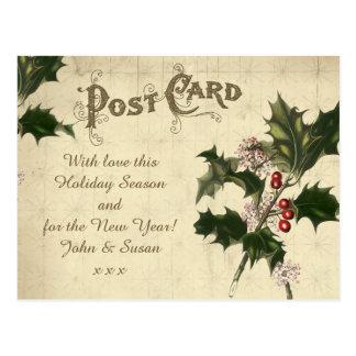 acebo de la postal de las vacaciones de invierno