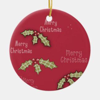 Acebo del rojo de las Felices Navidad de la Adorno Navideño Redondo De Cerámica