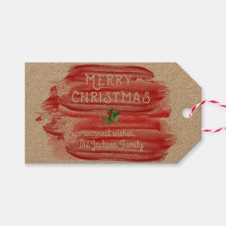 Acebo festivo del navidad de la acuarela roja etiquetas para regalos