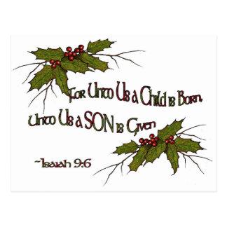 Acebo religioso, Isaías del navidad, elegante, Postal