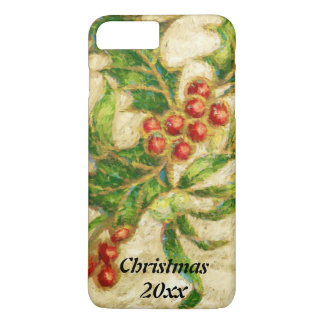 Acebo tradicional del navidad con las bayas funda iPhone 7 plus