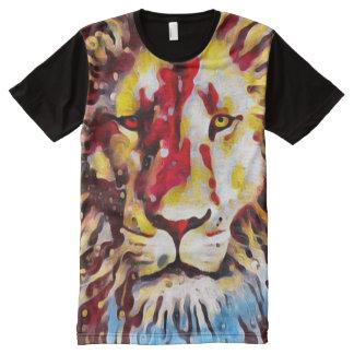 Aceite cristiano colorido del león camiseta con estampado integral