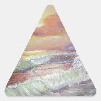 Aceite de la lona del paisaje marino 18x24 pegatina triangular