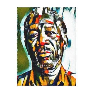 Aceite de Morgan Freeman en el retrato de la lona Impresión En Lienzo