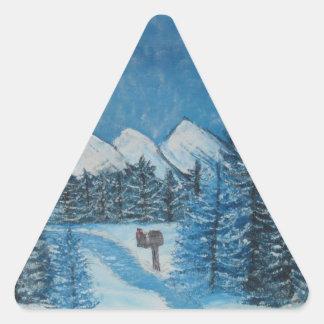 Aceites azules del invierno en la IMPRESIÓN de la Pegatina Triangular