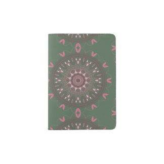 Aceituna adornada de la mandala de Boho Porta Pasaportes