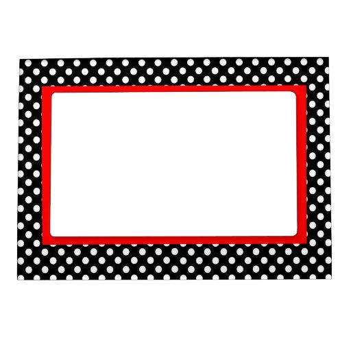 Acento blanco del rojo de los puntos de polca foto de imanes