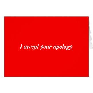 Acepto su disculpa tarjeton