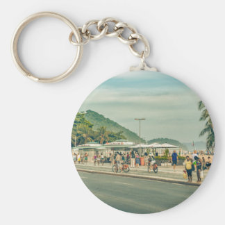 Acera Río de Janeiro el Brasil de Copacabana Llavero Redondo Tipo Chapa