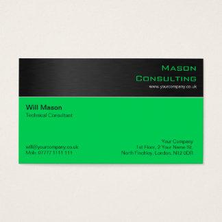 Acero negro moderno y tarjeta de visita verde