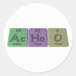 Achoo-CA-Ho-o-actinio-holmio-Oxígeno Etiquetas Redondas
