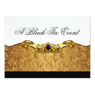 Acontecimiento barroco elegante del lazo negro invitación 12,7 x 17,8 cm