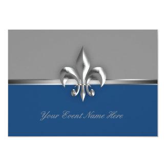 Acontecimiento de plata y azul de la flor de lis invitación 12,7 x 17,8 cm