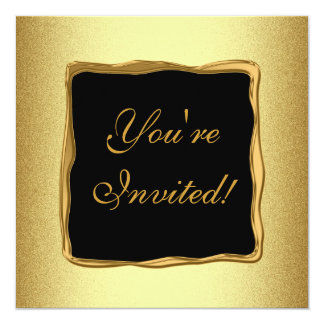 Acontecimiento formal especial del marco del oro invitación 13,3 cm x 13,3cm