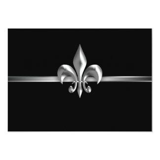 Acontecimiento negro de plata I de la flor de lis Invitación 12,7 X 17,8 Cm