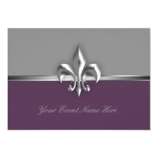 Acontecimiento púrpura de plata de la flor de lis invitación 12,7 x 17,8 cm