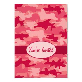 Acontecimiento rojo del fiesta del camuflaje de invitación 12,7 x 17,8 cm