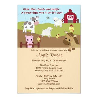 Acres animales del campo de fiesta de bienvenida invitación 12,7 x 17,8 cm