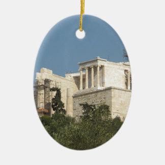 Acrópolis de la arquitectura de Atenas de Grecia Adorno Navideño Ovalado De Cerámica