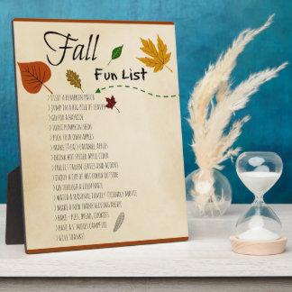 Actividades estacionales de la cosecha del otoño placa expositora