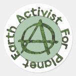 Activista de la tierra etiquetas redondas