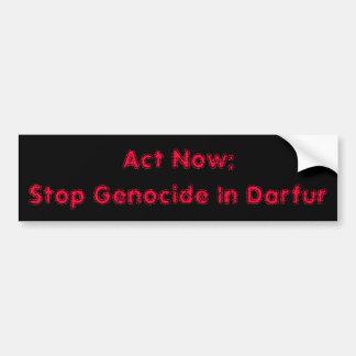 Acto ahora: Pare el genocidio en Darfur Pegatina Para Coche