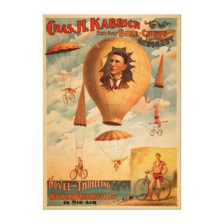Acto del paracaídas de la bicicleta en teatro del  impresiones de lienzo