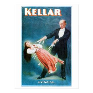 Acto mágico del vintage del mago de la levitación postal