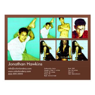 actor 2-Sided y comp modelo del Headshot de Brown Postal