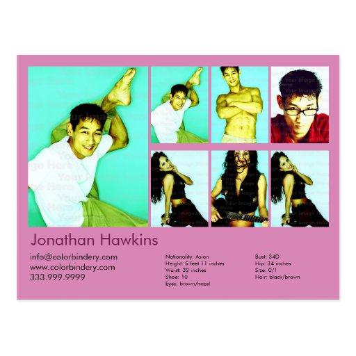 actor 2-Sided y comp rosados modelo del Headshot Tarjetas Postales