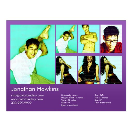actor 2-Sided y comp violetas modelo del Headshot Postales